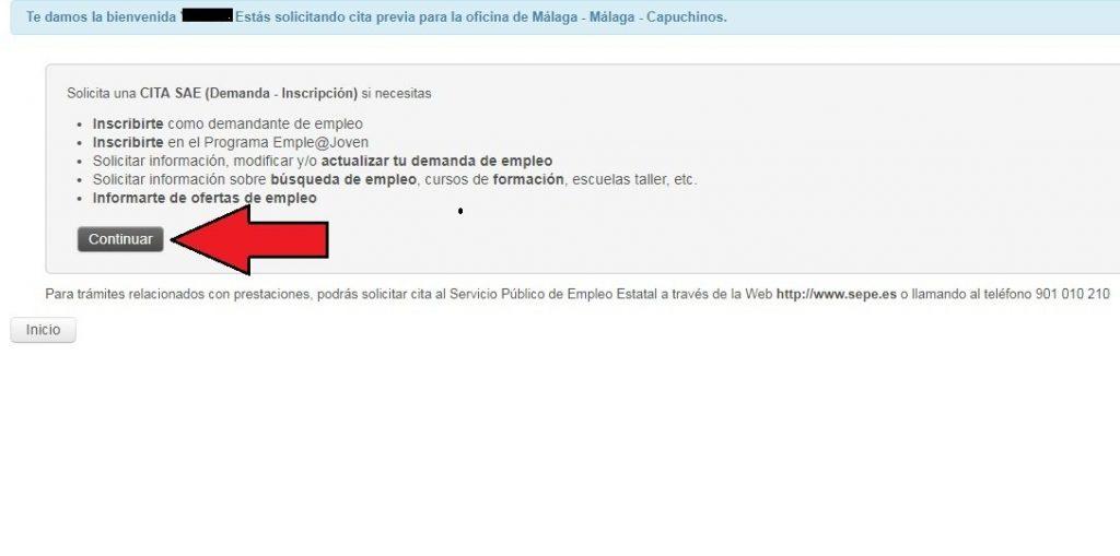 Paso 3 - Cita SAE - Servicio Andaluz de Empleo